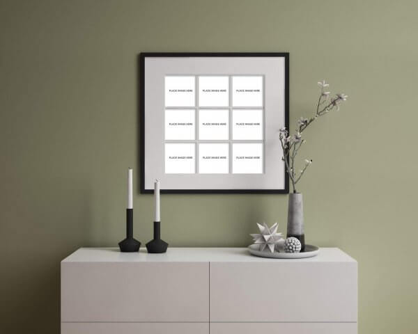 WHCC Slim Frame in Black with 9 image openings hanging on the wall over an entry table with modern furnishings.